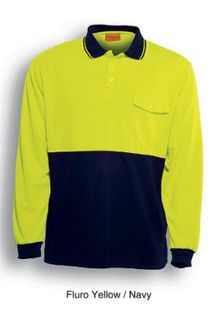BOCINI SP0426 LONG SLEEVE POLO YELL/NVY