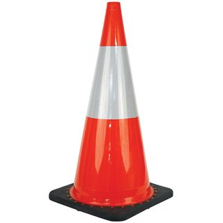 CONE SAFETY REFLECTIVE ORANGE 700mm  BLACK BASE