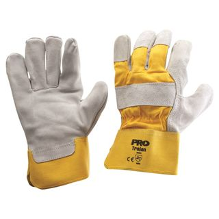 GLOVE LEATH/COT R/CUFF YELLOW