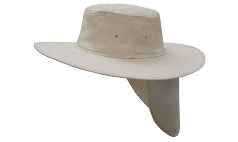 NATURAL WIDE BRIM HAT WITH FLAP