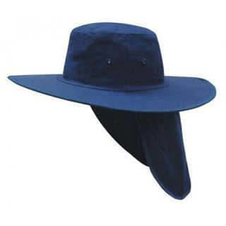 NAVY WIDE BRIM HAT WITH FLAP