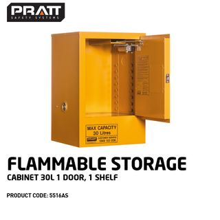PRATT FLAMMABLE CABINET 30LTR 1 DOOR, 1 SHELF