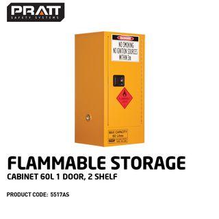 PRATT FLAMMABLE CABINET 60LTR 1 DOOR, 2 SHELF