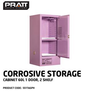 PRATT CORROSIVE CABINET 60LTR 1 DOOR, 2 SHELF