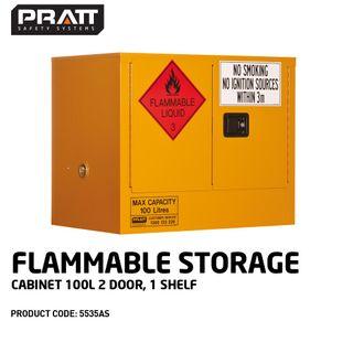 PRATT FLAMMABLE CABINET 100LTR 2 DOOR, 1 SHELF