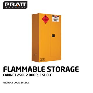PRATT FLAMMABLE CABINET 250LTR 2 DOOR, 3 SHELF