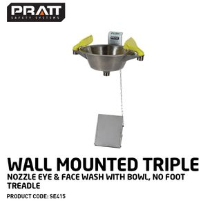 PRATT WALL MOUNTED  TRIPLE NOZZLE EYE & FACE WASH WITH BOWL & FOOT TREADLE