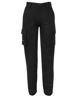 6NMP1B LADIES BLACK CARGO TROUSERS