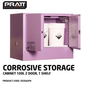 PRATT CORROSIVE CABINET 100LTR 2 DOOR, 1 SHELF