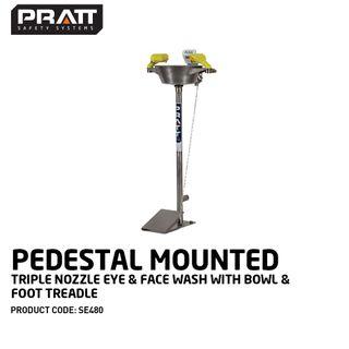 PRATT PEDESTAL MOUNTED TRIPLE NOZZLE EYE & FACE WASH WITH BOWL & FOOT TREADLE