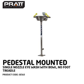 PRATT PEDESTAL MOUNTED SINGLE NOZZLE EYE WASH WITH BOWL. NO FOOT TREADLE