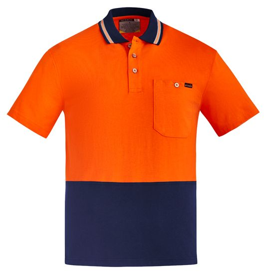 Syzmik Mens Hi Vis Cotton Short Sleeve Polo