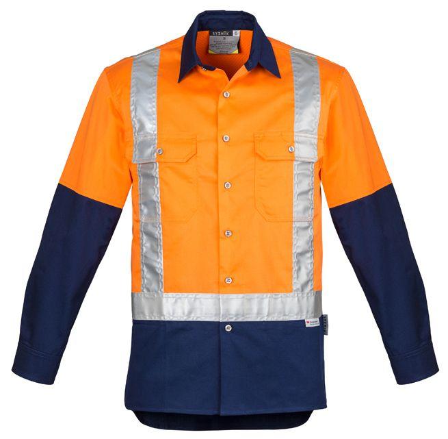 Syzmik Mens Hi Vis Spliced Industrial Shirt - Shoulder Taped