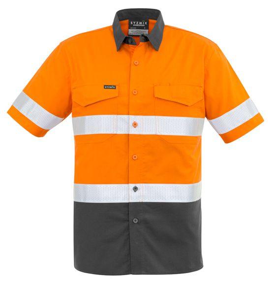 Syzmik Mens Rugged Cooling Taped Hi Vis Spliced Short Sleeve Shirt