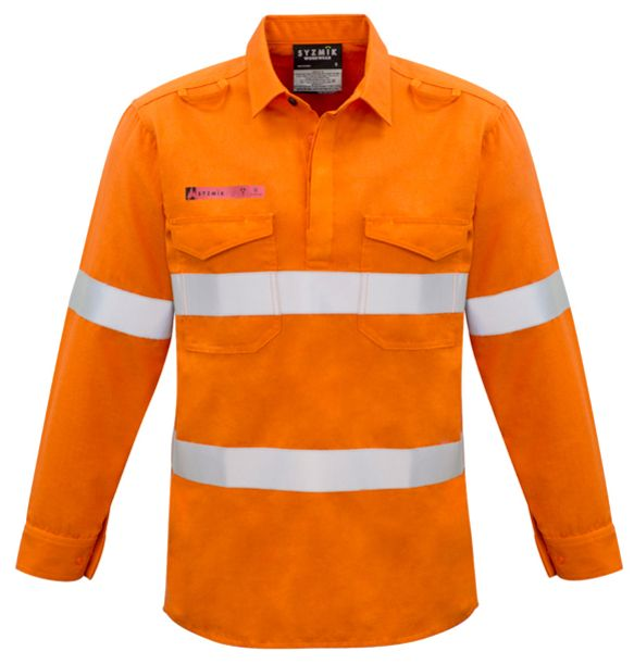 Syzmik Mens Fire Resistant Closed Hooped Taped Shirt