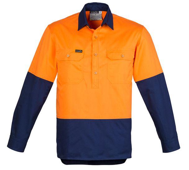 Syzmik Mens Hi Vis Closed Fire Resistant Long Sleeve Shirt