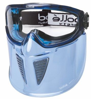 Blast Blue PVC Frame AS/AF Glasses Indirect Vents Top/Bottom With Foam & Mouth Guard