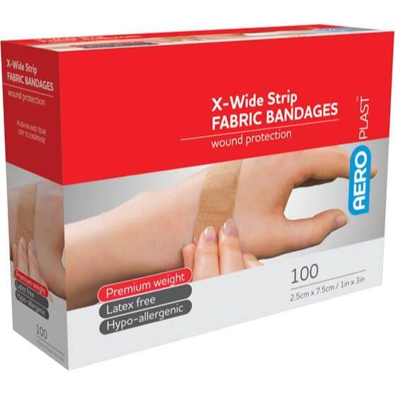 Aeroplast X-Wide Strip Plastic Bandages AT3041 Transparent 2.5cm x 7.5cm Box 100