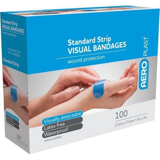 Aeroplast Standard Strip Visual Bandages Waterproof AV2000 Blue 2.5cm x 7.5cm Box 100