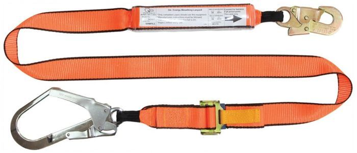 QSI Adjustable Shock Lanyard with Double Action Hook and Scaffold Hook