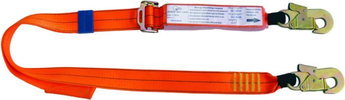 QSI Adjustable Shock Absorbing Lanyard with 2 Double Action Hooks