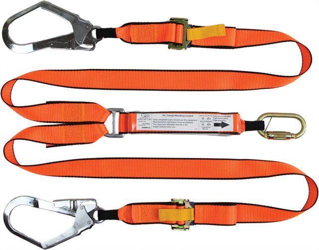 QSI Adjustable Twin Leg Lanyard with Carabiner and 2 Scaffold Hooks