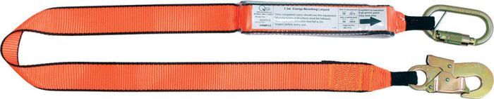 QSI 2m Single Leg Lanyard with Triple Action Carabiner & Double Action Hook