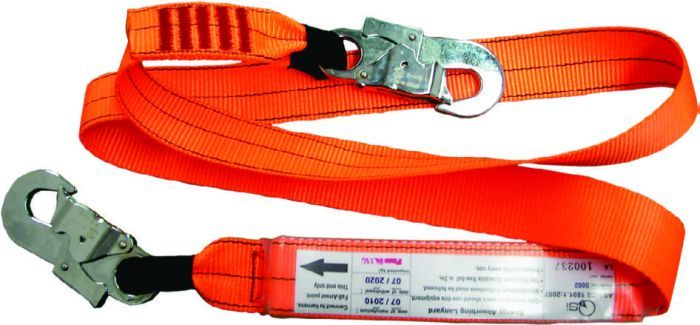 QSI 1.5m Shock Absorbing Lanyard with 2 Double Action Hooks