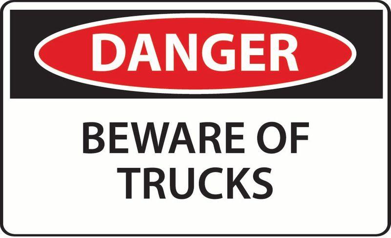 Danger Beware Of Trucks Sticker
