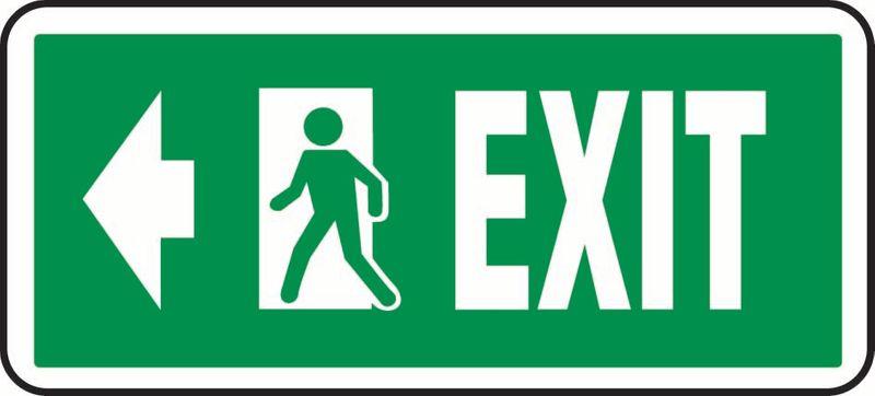 Exit (Left Arrow And Door) Sticker