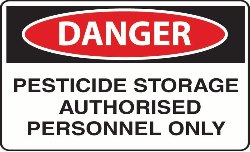 Danger Pesticide Storage Authorised Personnal Only Sticker