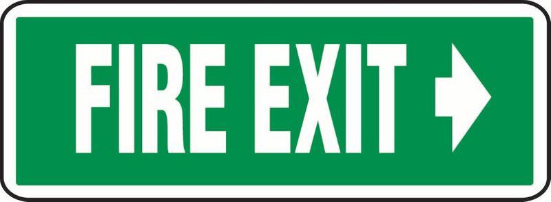 Fire Exit (Right Arrow) (Words Beside) PVC