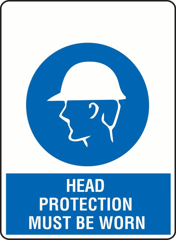 Head Protection Must Be Worn (Hat + Head) Coreflute