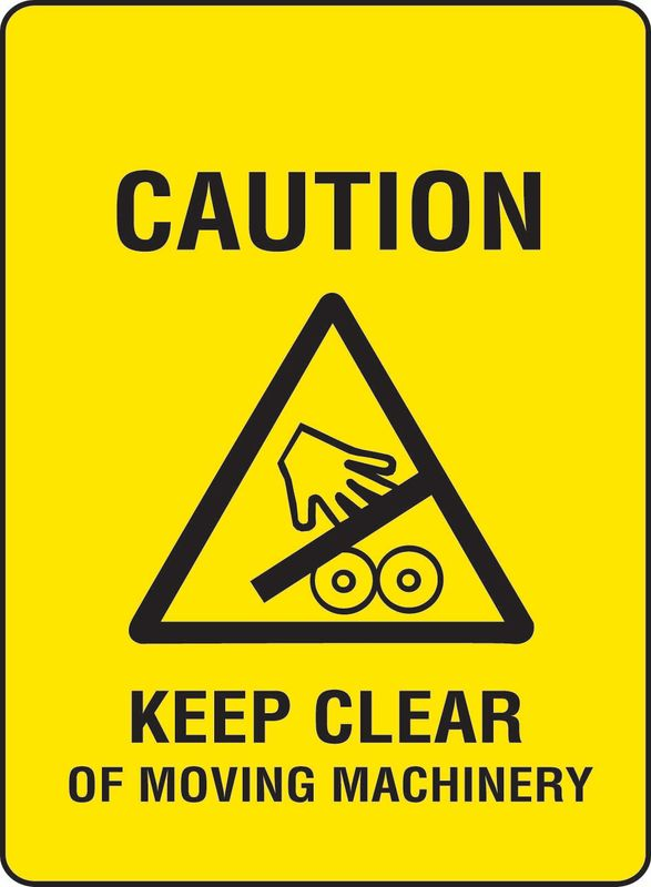 Caution Keep Clear Of Moving Machinery Coreflute