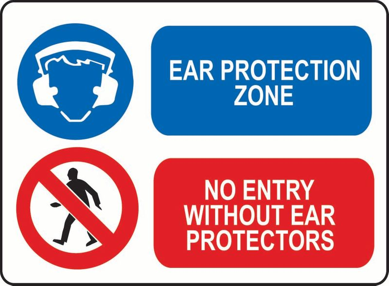 Ear Protection Zone, No Entry Without Ear Protectors ACM