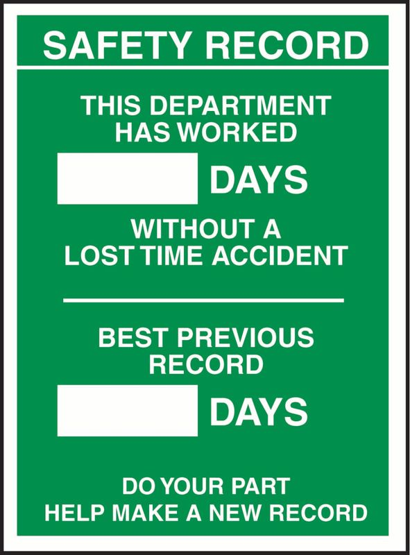 Safety Record Days Since, Record Department ACM