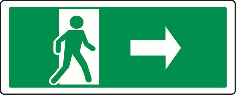 (Person Exiting Through Door, Right) Sticker