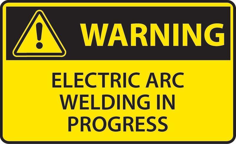 Warning Electric Arc Welding In Progress Sticker