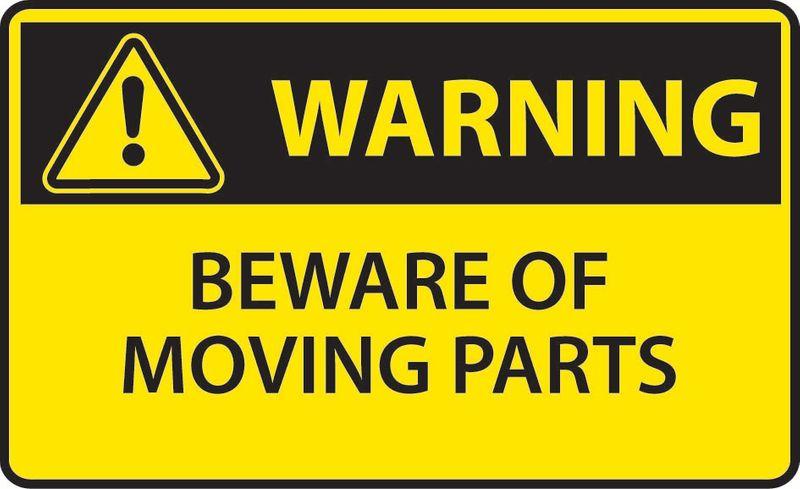 Warning Beware Of Moving Parts Sticker