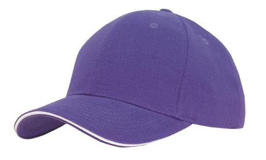 Headwear 6 Panel Brushed Heavy Cotton Cap with Sandwich Trim