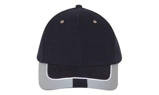 Headwear 6 Panel Brushed Heavy Cotton Cap Reflective Trim