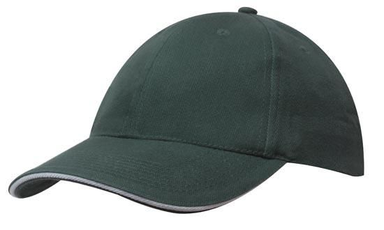 Headwear 6 Panel Brushed Cotton Cap with Sandwich Trim