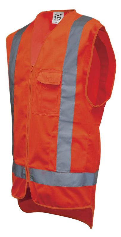 Esko Good2Glow Day/Night Safety Vest Complete With Cellphone ID And Pen Pocket Neon Orange