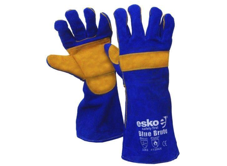 Esko Blue Brute' Premium Welders Glove Palm And Knuckle Bar Kevlar Stitch Blue/Gold 406mm