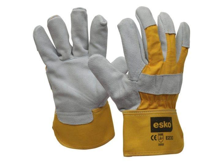 Esko Heavy Duty Leather/Cotton Glove Safety Cuff 'A' Grade Yellow/Grey