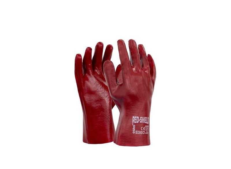 Esko Shield PVC Single Dipped Glove With Interlock Liner Red