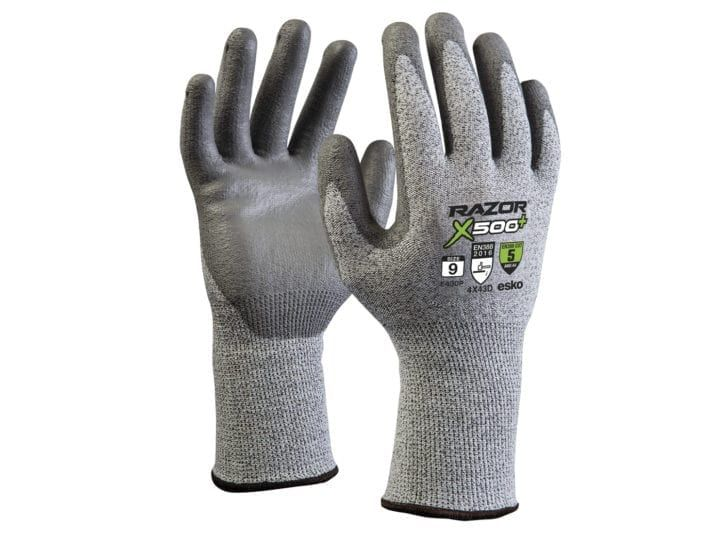 Esko Razor X500+ Gloves HPPE Cut Resistant Level 5 PU Coating Long Cuff Grey