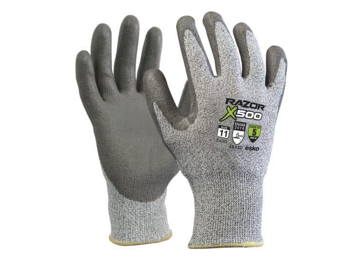 Esko Razor X500 Gloves PU Coated Cut Resistant Level 5 HPPE Fibre Liner Grey