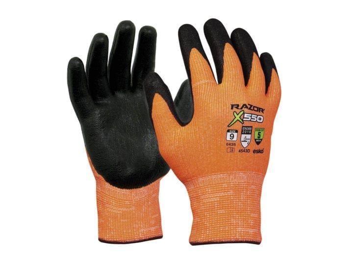 Esko Razor X550 Gloves Nitrile Coated Cut Resistant Level 5 HPPE Fibre Liner Orange