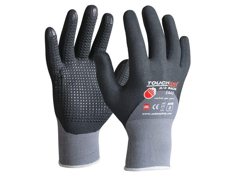 Esko Touchline 3/4Back Nitrile 3/4 Dip Foam Coat With Micro Dots On Spandex Gloves